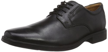 Clarks Tilden Plain, Herren Derby Schnürhalbschuhe, Schwarz (Black Leather), 46 EU (11 Herren UK) -