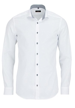 ETERNA Herren SLIM FIT FEIN OXFORD LANGARMHEMD WEISS 41-H Normal Slim Fit (67cm) -