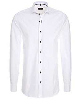 ETERNA Herren SLIM FIT LANGARMHEMD UNI STRETCH WEISS -