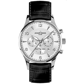 Jacques Lemans Herren-Armbanduhr XL London Chronograph Quarz Leder 1-1654B -