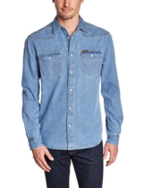 Wrangler Herren, Businesshemd, L/S CLASSIC WESTERN LIGHT INDIGO, Blau (Light Indigo), M -