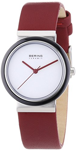 Bering Time Damen-Armbanduhr XS Part Ceramic Analog Quarz Leder 10729-AZ1 -